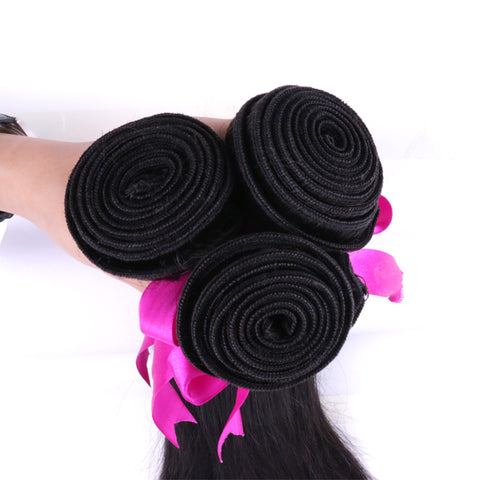 Slnhair 100% Real Virgin Remy Human Hair Bundles Straight Peruvian Hair Wefts