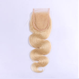 "Slnhair 4x4""  Blonde Color Lace Closures With Natural Hairline Body Wave"