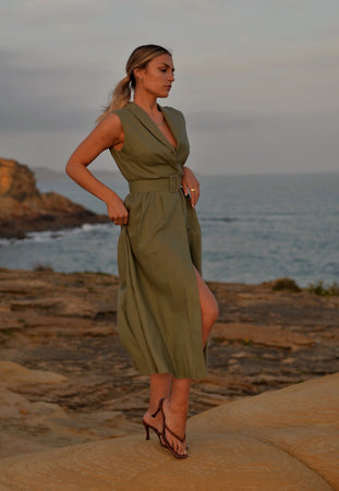 The Riviera  Linen Dress- Green (Made to Order)