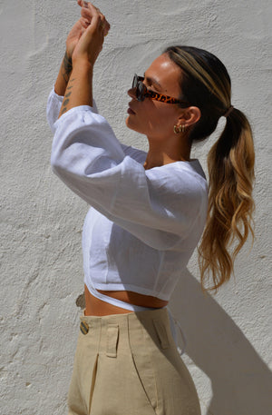 Ivy Linen Top - White