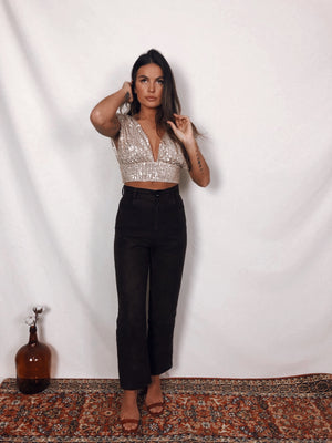 Rose Gold Moon sequins Top