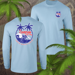 Red, white & palm trees - sunrise surf shop