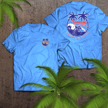 Load image into Gallery viewer, Red, white & palm trees - sunrise surf shop