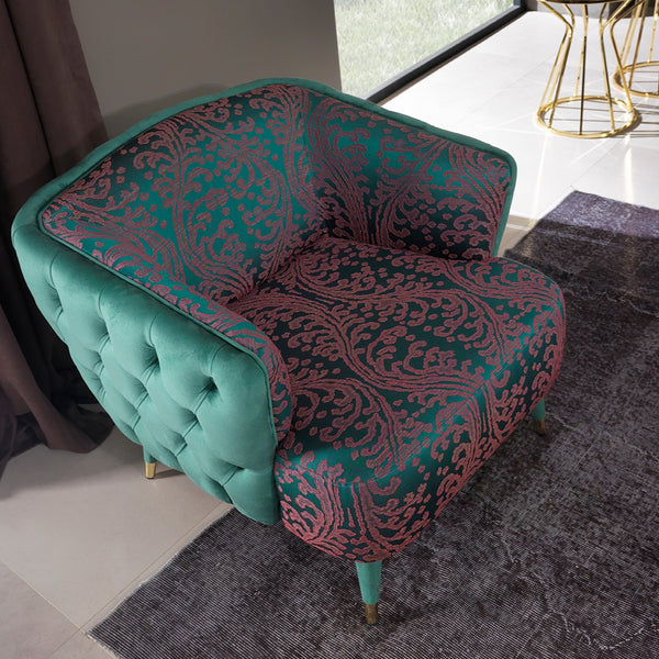 GOLD GREEN ARM CHAIR