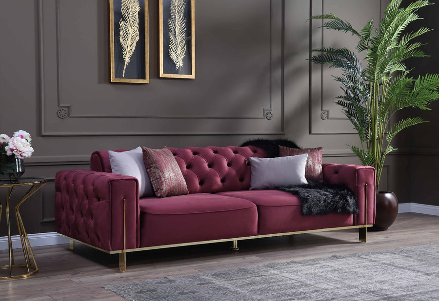 GOLD RED SOFA SET 3+3+1