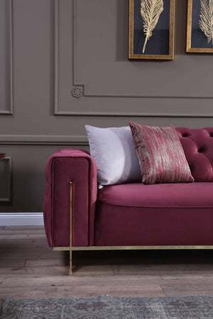 GOLD RED 3 SEATER SOFA