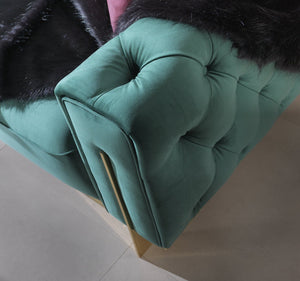 GOLD GREEN SOFA 3 SEATER