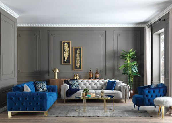 GOLD BLUE SOFA SET  3+3+1