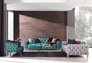 Gold Green Sofa Set 3+3+1+1, La Vida Furniture