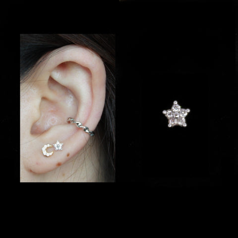 Solid 925 Silver | Dainty Pave CZ Star Earring | Tragus | Helix | Conch | Earlobe - Sturdy South