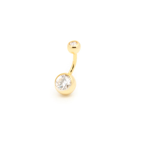 "Double Jewelled Belly Ring With Gold Plating | 6mm 1/4"" 8mm 5/16"" 10mm 3/8"" - Sturdy South"