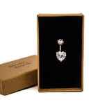 "Solitaire Heart-shaped Stone Belly Ring | 6mm 1/4"" 8mm 5/16"" 10mm 3/8"" - Sturdy South"