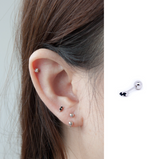 Solid 925 Silver | Dainty Black CZ Bar Earring | Tragus | Helix | Conch | Earlobe - Sturdy South