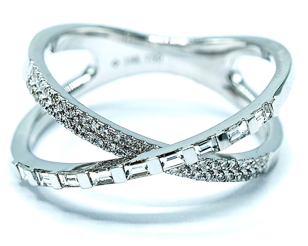 Diamond Cross Ring-Gaguette and Round - WG