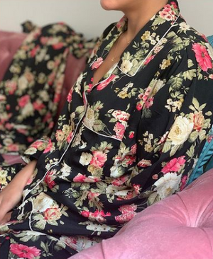 SILK COTTON LONG SLEEVES PYJAMAS - FLORAL BLACK