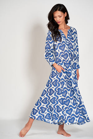 AZURITE DRESS - Ikat Blue