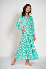 AZURITE DRESS - Ikat Green