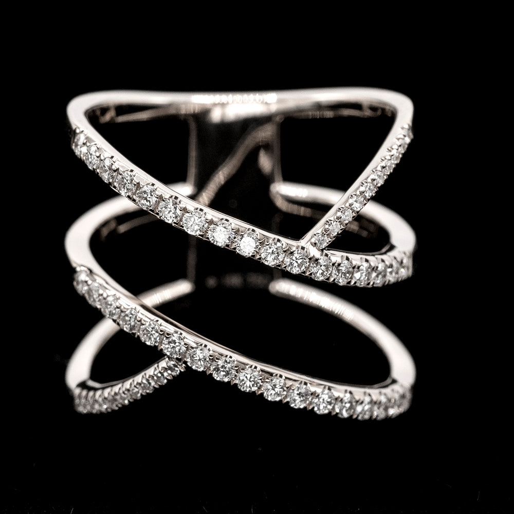 White Diamond Double X Ring - WG