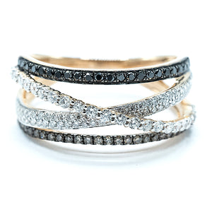 Crossing Band Diamond Ring - YG