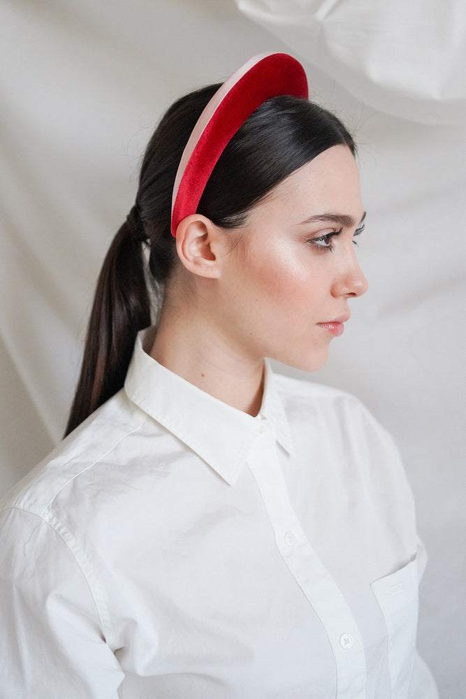 DOUBLE FABRIC PADDED HEADBAND - RED AND PINK