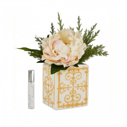 SQUACORAL VASE MIDI WITH BLOSSOM - OCHER