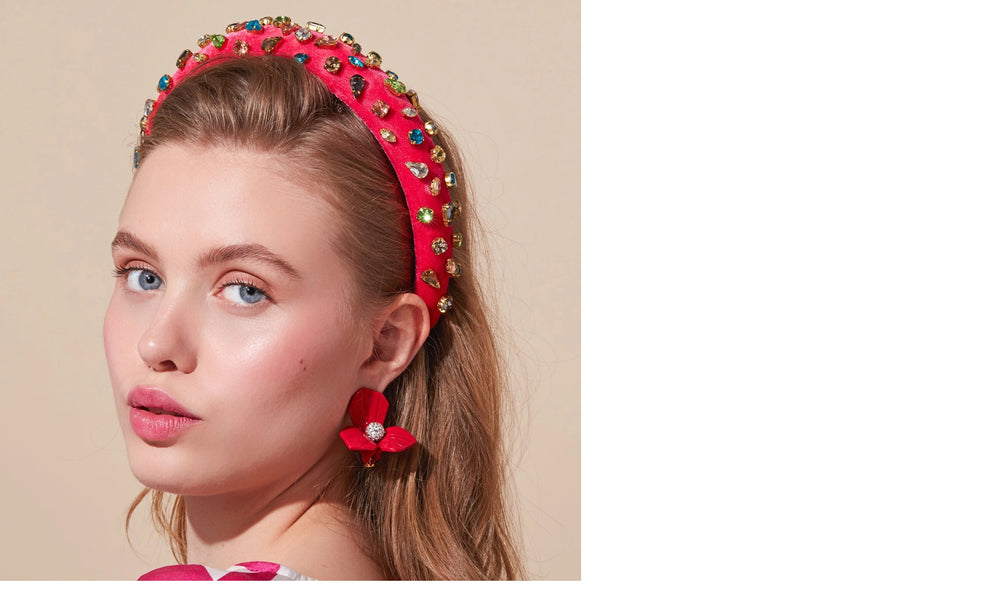 HOT PINK PADDED VELVET CANDY JEWELED HEADBAND