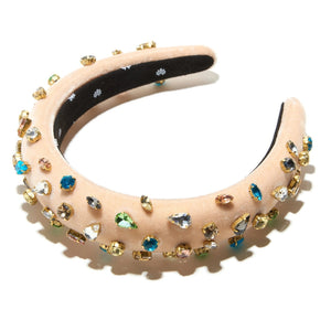 SLIM SUGAR VELVET CANDY JEWELED PADDED HEADBAND