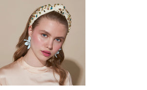 WOVEN KNOTTED CANDY JEWELED HEADBAND