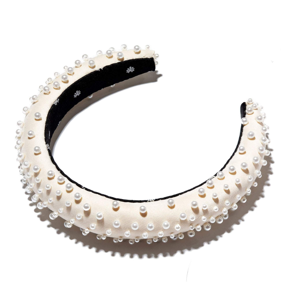 SLIM IVORY SCATTERED PEARL PADDED HEADBAND