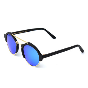 Milan II Sunglasses - Matte Black/Gold/Blue Mirror