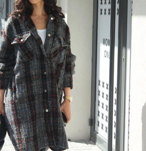 OVERSHIRT DRESS - WOOL CHECK