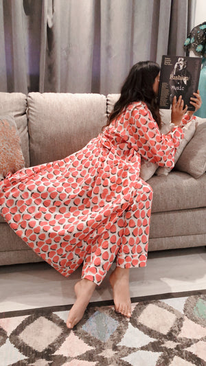 COTTON LONG SLEEVES ROBES FRUITY PRINTS