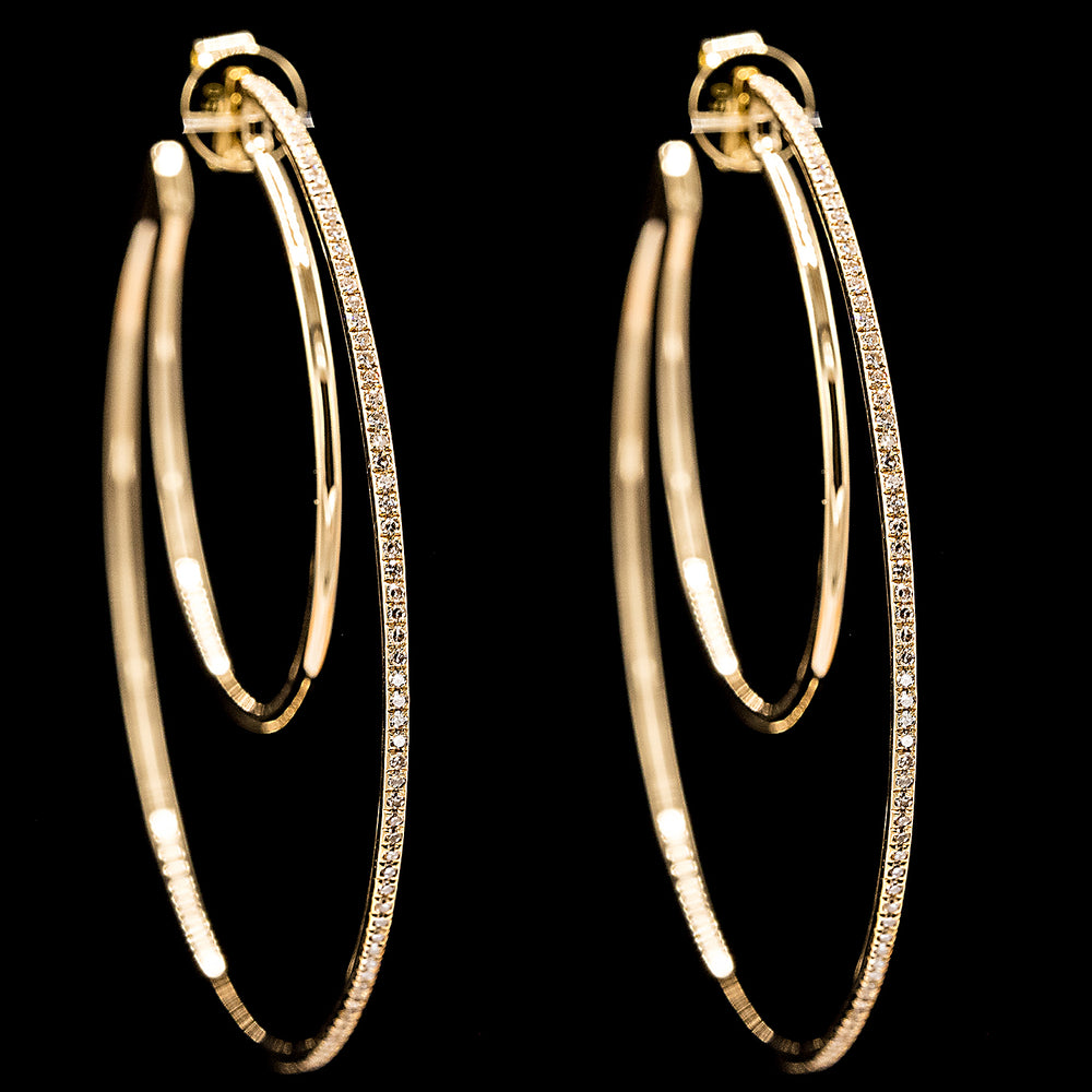 Double Diamond Hoops - YG