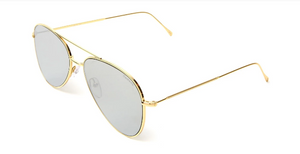 Wooster Sunglasses - Gold/Silver Flat Mirror