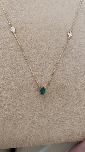 Necklace with Almond Emerald Stone and Diamonds
