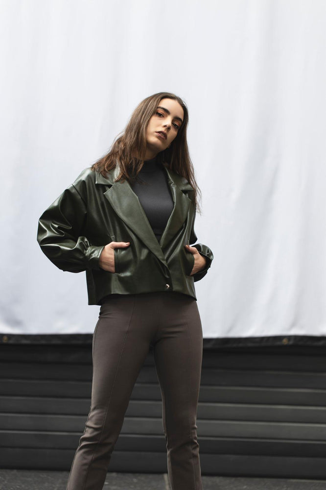 LEATHER JACKET - OLIVE GREEN