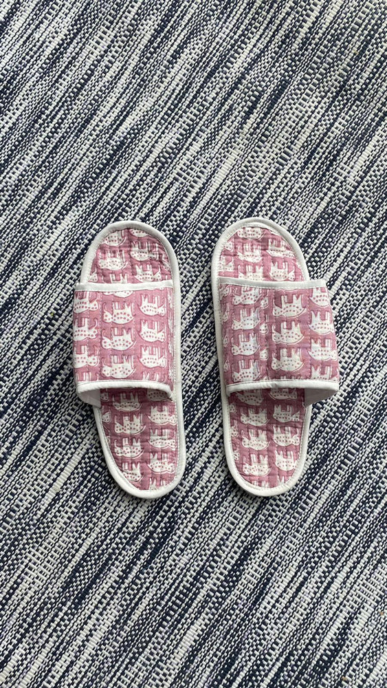 COTTON SLIPPERS - Pink Pale Elephant