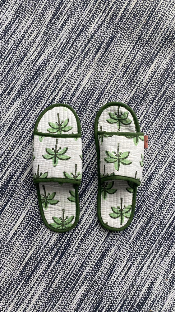 COTTON SLIPPERS - Palm Tree
