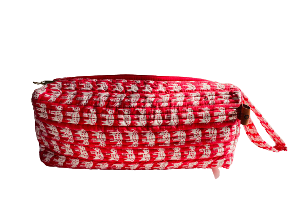COTTON TOILETRY BAG - Red Elephant