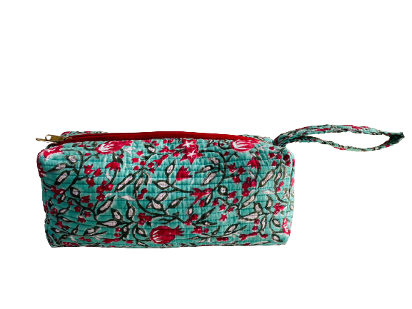 COTTON TOILETRY BAG - Pomegranate Green