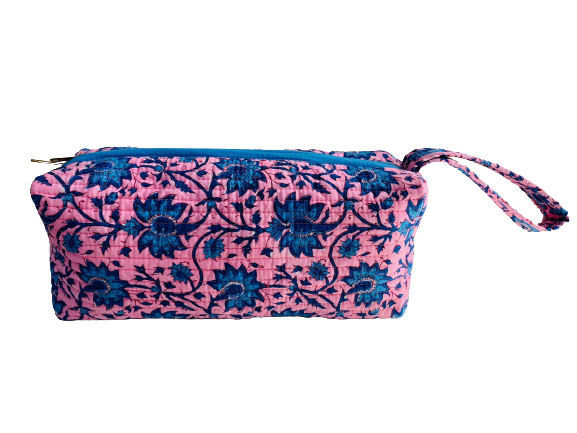 COTTON TOILETRY BAG - Fuchsia Blue Flowers