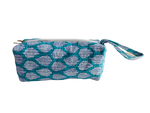 COTTON TOILETRY BAG - Turquoise White Leaves