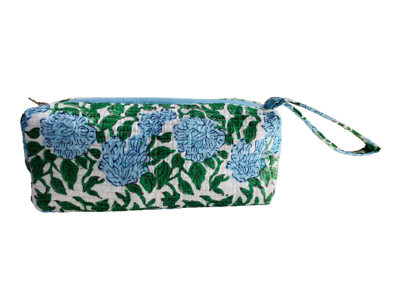 COTTON TOILETRY BAG - Green Leaves Blue Hydrangea Flower
