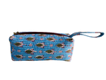 COTTON TOILETRY BAG - Sky Blue Green Leaves