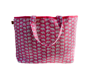 COTTON BEACH BAG - Pink Elephant