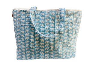 COTTON BEACH BAG - Blue Elephant