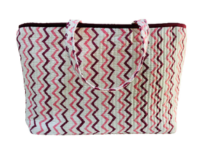 COTTON BEACH BAG - Andalusia Dark Pink Star