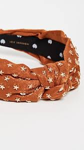 STAR STUDDED SILK KNOTTED HEADBAND - COPPER