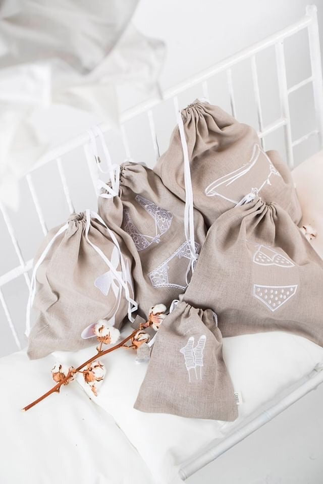Traveling Drawstring Bags - Light Beige 5pcs