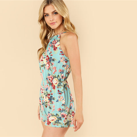 Floral Print Backless Jumpsuit
